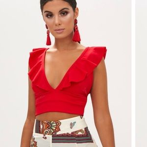 6d2ccd2f516 Pretty Little Thing Tops - Pretty Little Thing Red Frill Edge Plunge Crop  Top